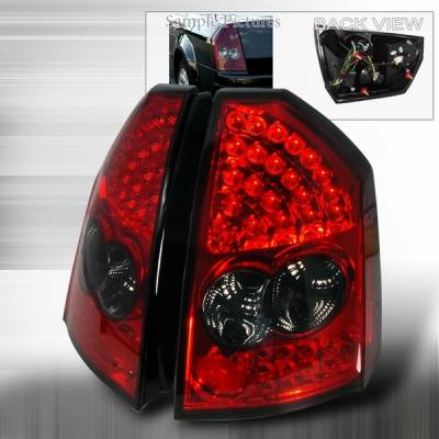 Headlights & Tail Lights - Led Tail Lights - Custom Disco - Chrysler 300 Custom Disco Red & Smoke LED Taillights - LT-300C05RGLED