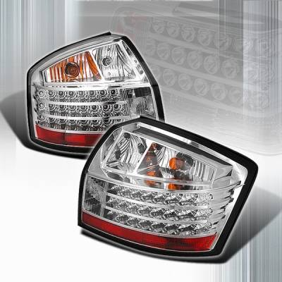 Headlights & Tail Lights - LED Tail Lights - Custom Disco - Audi A4 Custom Disco Chrome Euro LED Taillights - LT-A401CLED