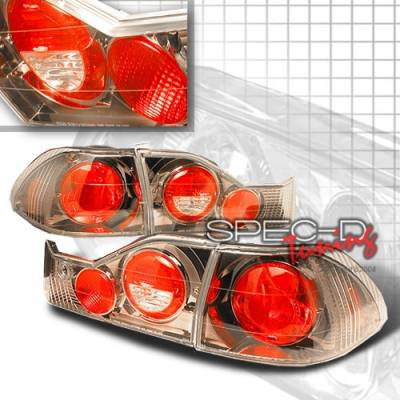 Headlights & Tail Lights - Tail Lights - Custom Disco - Honda Accord 4DR Custom Disco Gunmetal Taillights - LT-ACD984G-YD