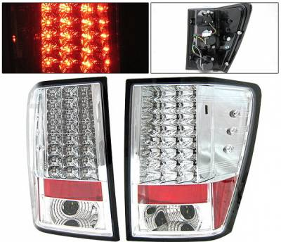 Headlights & Tail Lights - Led Tail Lights - 4 Car Option - Jeep Grand Cherokee 4 Car Option LED Taillights - Chrome - LT-JGC05LEDC-YD