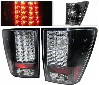Headlights & Tail Lights - Led Tail Lights - 4 Car Option - Jeep Grand Cherokee 4 Car Option LED Taillights - Black - LT-JGC05LEDJB-YD