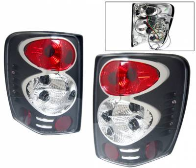 Headlights & Tail Lights - Tail Lights - 4 Car Option - Jeep Grand Cherokee 4 Car Option Altezza Taillights - Black - LT-JGC99JB-YD