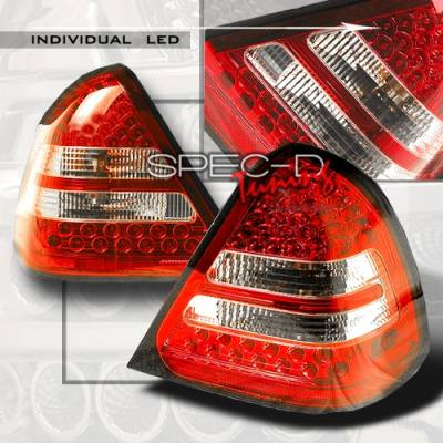 Headlights & Tail Lights - Led Tail Lights - Custom Disco - Mercedes-Benz C Class Custom Disco Red Euro LED Taillights - LT-BW20295RLED
