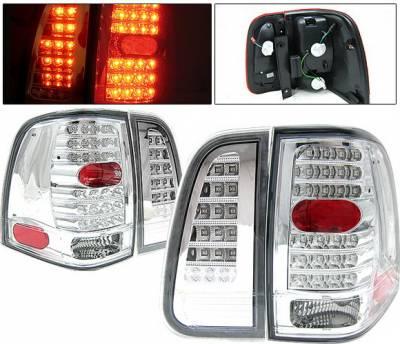 Headlights & Tail Lights - Led Tail Lights - 4 Car Option - Lincoln Navigator 4 Car Option LED Taillights - Chrome - LT-LN03LEDC-KS