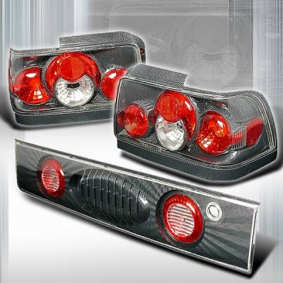 Headlights & Tail Lights - Tail Lights - Custom Disco - Toyota Corolla Custom Disco Black Side Piece Taillights - LT-COR93CF-YD