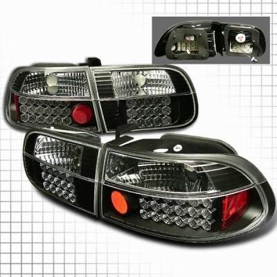 Headlights & Tail Lights - Led Tail Lights - Custom Disco - Honda Civic Custom Disco Black LED Taillights - LT-CV923JMLED-YD