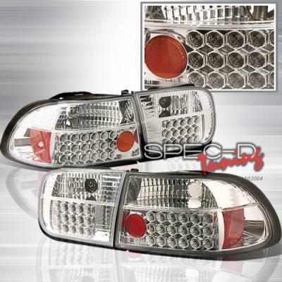 Headlights & Tail Lights - Tail Lights - Custom Disco - Honda Civic 2DR & 4DR Custom Disco Chrome Taillights - LT-CV92CLED-YD