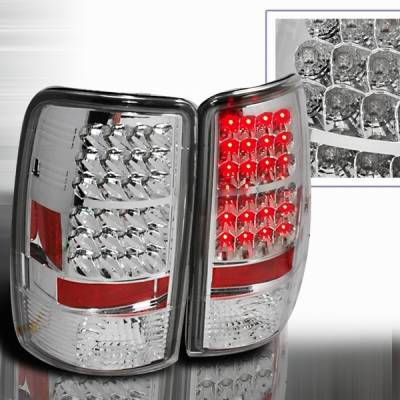 Headlights & Tail Lights - Led Tail Lights - Custom Disco - Chevrolet Tahoe Custom Disco Chrome LED Taillights - LT-DEN00CLED-YD