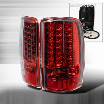 Headlights & Tail Lights - Led Tail Lights - Custom Disco - Chevrolet Tahoe Custom Disco Red LED Taillights - LT-DEN00RLED