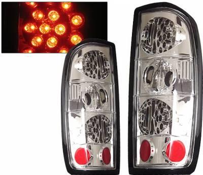 Headlights & Tail Lights - Led Tail Lights - 4 Car Option - Nissan Frontier 4 Car Option LED Taillights - Chrome - LT-NF98LEDC-KS