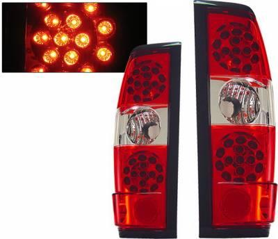 Headlights & Tail Lights - Led Tail Lights - 4 Car Option - Nissan Frontier 4 Car Option LED Taillights - Red & Clear - LT-NF98LEDRC-KS