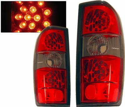 Headlights & Tail Lights - Led Tail Lights - 4 Car Option - Nissan Frontier 4 Car Option LED Taillights - Red & Smoke - LT-NF98LEDRSM-KS