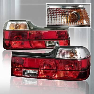 Headlights & Tail Lights - Tail Lights - Custom Disco - BMW 7 Series Custom Disco Red & Clear Taillights - LT-E3288RPW-TM