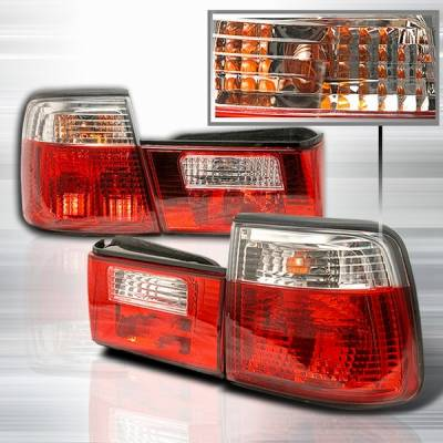 Headlights & Tail Lights - Tail Lights - Custom Disco - BMW 5 Series Custom Disco Red & Clear Taillights - LT-E344RPW-TM