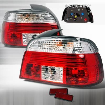 Headlights & Tail Lights - Tail Lights - Custom Disco - BMW 5 Series Custom Disco Red & Clear Taillights - LT-E394RPW-TM