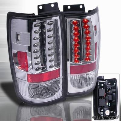 Headlights & Tail Lights - Led Tail Lights - Custom Disco - Ford Expedition Custom Disco Chrome LED Taillights - LT-EPED97CLED-YD