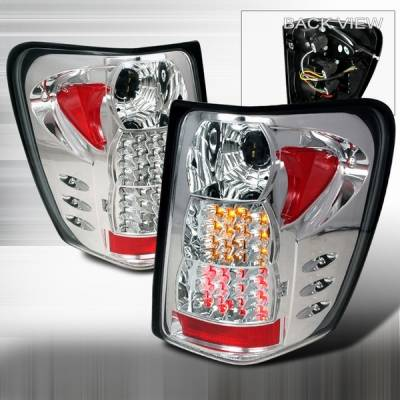 Headlights & Tail Lights - Led Tail Lights - Custom Disco - Jeep Grand Cherokee Custom Disco Chrome Red & Amber LED Taillights - LT-GKEE99CLED-YD