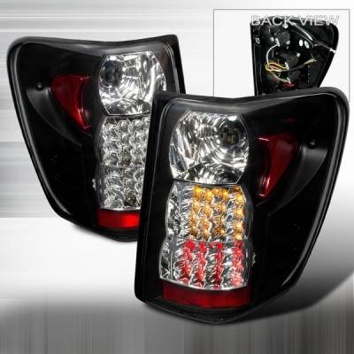 Headlights & Tail Lights - Led Tail Lights - Custom Disco - Jeep Grand Cherokee Custom Disco Black Red & Amber LED Taillights - LT-GKEE99JMLED-YD