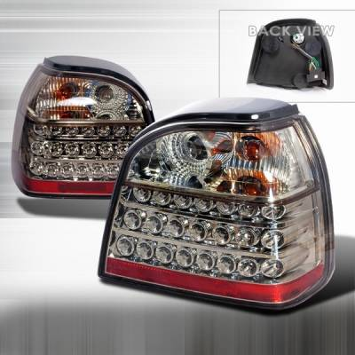 Headlights & Tail Lights - Led Tail Lights - Custom Disco - Volkswagen Golf Custom Disco Gunmetal LED Taillights - LT-GLF93GLED