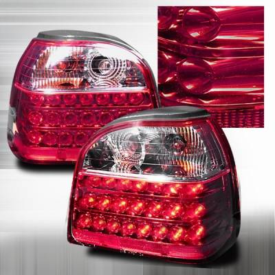 Headlights & Tail Lights - Led Tail Lights - Custom Disco - Volkswagen Golf Custom Disco Red LED Taillights - LT-GLF93RLED