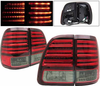 Headlights & Tail Lights - Led Tail Lights - 4 Car Option - Toyota Land Cruiser 4 Car Option LED Taillights - Red & Smoke - LT-TLC98LEDRSM-KS