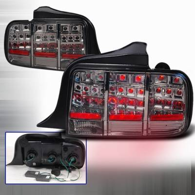 Headlights & Tail Lights - Led Tail Lights - Custom Disco - Ford Mustang Custom Disco Smoke LED Taillights - LT-MUS05GLED-KS