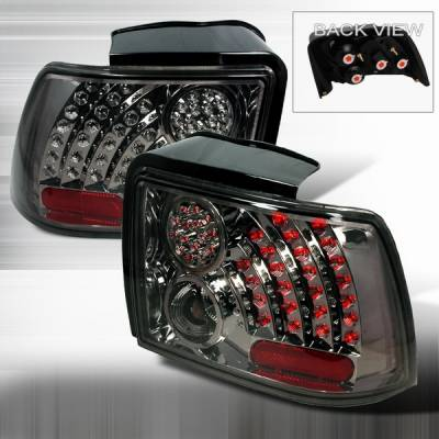 Headlights & Tail Lights - Led Tail Lights - Custom Disco - Ford Mustang Custom Disco Chrome & Smoke LED Taillights with Reflector - LT-MUS99CGLED-WJ