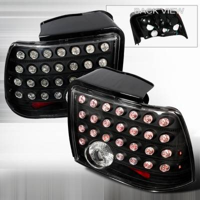 Headlights & Tail Lights - Led Tail Lights - Custom Disco - Ford Mustang Custom Disco Black LED Taillights - LT-MUS99JMLED-KS
