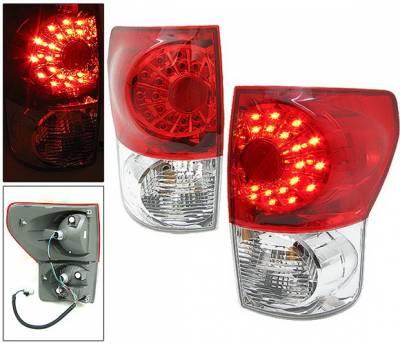 Headlights & Tail Lights - Led Tail Lights - 4 Car Option - Toyota Tundra 4 Car Option LED Taillights - Red & Clear - LT-TTUN07LEDRC-KS