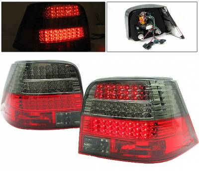 Headlights & Tail Lights - Led Tail Lights - 4 Car Option - Volkswagen Golf 4 Car Option LED Taillights - Red & Smoke - LT-VG99LEDRSM-DP