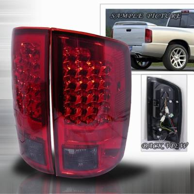 Headlights & Tail Lights - Led Tail Lights - Custom Disco - Dodge Ram Custom Disco Red & Smoke Euro LED Taillights - LT-RAM02RGLED-YD