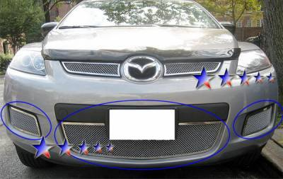Grilles - Custom Fit Grilles - APS - Mazda CX-7 APS Wire Mesh Grille - Bumper - Stainless Steel - M76233T