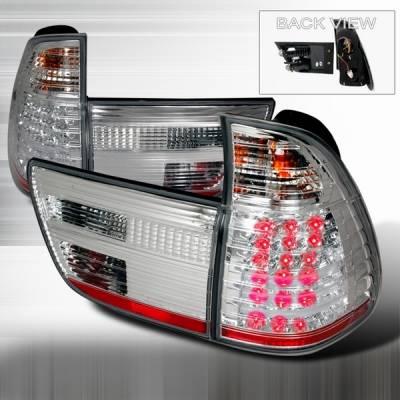 Headlights & Tail Lights - Led Tail Lights - Custom Disco - BMW X5 Custom Disco Chrome LED Taillights - LT-X500CLED-YD
