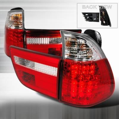 Headlights & Tail Lights - Led Tail Lights - Custom Disco - BMW X5 Custom Disco Red & Clear LED Taillights - LT-X500RLED-YD