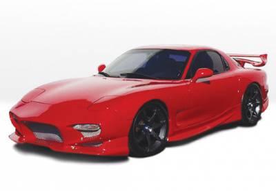 RX7 - Side Skirts - VIS Racing - Mazda RX-7 VIS Racing Aggressor Left Side Skirt - Fiberglass - 490144L