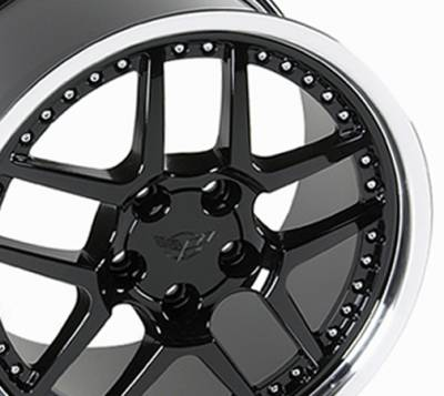 Wheels - GM 4 Wheel Package - Custom - Z06 Style Wheel Black - GM Staggered 4 Wheel Package