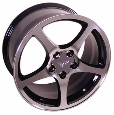 Wheels - GM 4 Wheel Package - Custom - C5 Style Wheel Black Machined - GM Staggered 4 Wheel Package