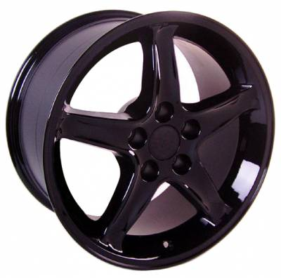 Wheels - Mustang Wheels - Custom - Cobra R Style Wheel Black - Mustang 17 Inch 4 Wheel Package