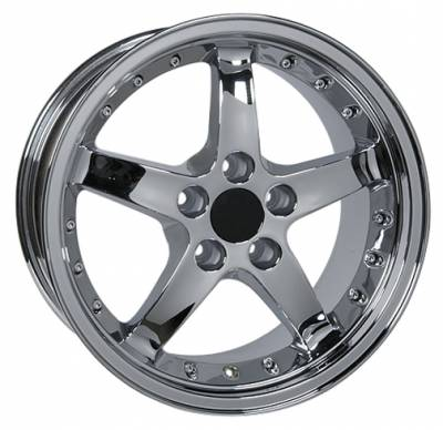 Wheels - Mustang Wheels - Custom - Cobra R Style Wheel Chrome - Mustang 17 Inch 4 Wheel Package