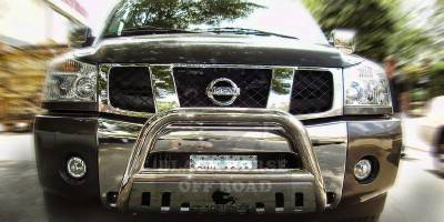 Grilles - Grille Guard - Black Horse - Nissan Armada Black Horse Bull Bar Guard with Skid Plate