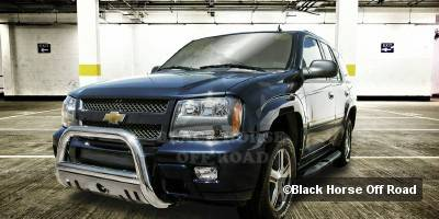 Grilles - Grille Guard - Black Horse - GMC Envoy Black Horse Bull Bar Guard with Skid Plate