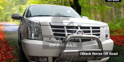 Grilles - Grille Guard - Black Horse - Cadillac Escalade Black Horse Bull Bar Guard with Skid Plate