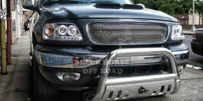 Grilles - Grille Guard - Black Horse - Lincoln Navigator Black Horse Bull Bar Guard with Skid Plate