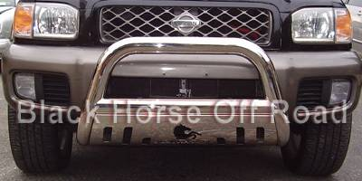 Grilles - Grille Guard - Black Horse - Nissan Pathfinder Black Horse Bull Bar Guard with Skid Plate