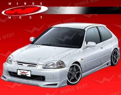 Civic 2Dr - Side Skirts - VIS Racing - Honda Civic 2DR & Hatchback VIS Racing JPC B Side Skirts - Polyurethane - 96HDCVC2DJPCB-004P