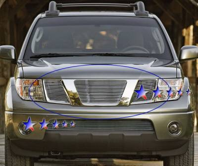 Grilles - Custom Fit Grilles - APS - Nissan Frontier APS Billet Grille - without Logo Opening - Upper - Aluminum - N66505A