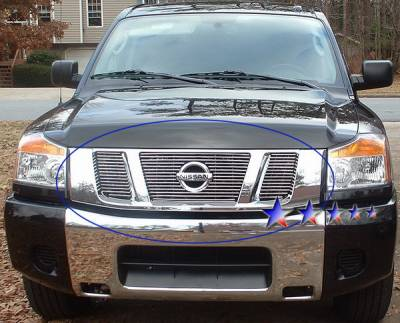 Grilles - Custom Fit Grilles - APS - Nissan Titan APS Billet Grille - with Logo Opening - Upper - Aluminum - N66506A