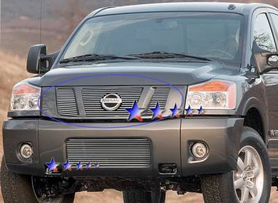 Grilles - Custom Fit Grilles - APS - Nissan Titan APS Billet Grille - with Logo Opening - Upper - Stainless Steel - N66506S