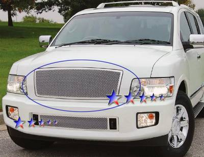 Grilles - Custom Fit Grilles - APS - Infiniti QX56 APS Wire Mesh Grille - Upper - Stainless Steel - N75447T