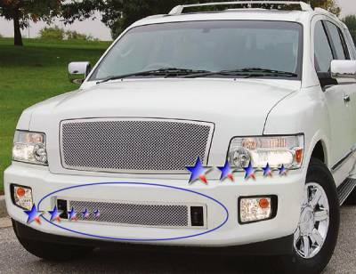 Grilles - Custom Fit Grilles - APS - Infiniti QX56 APS Wire Mesh Grille - Bumper - Stainless Steel - N75448T